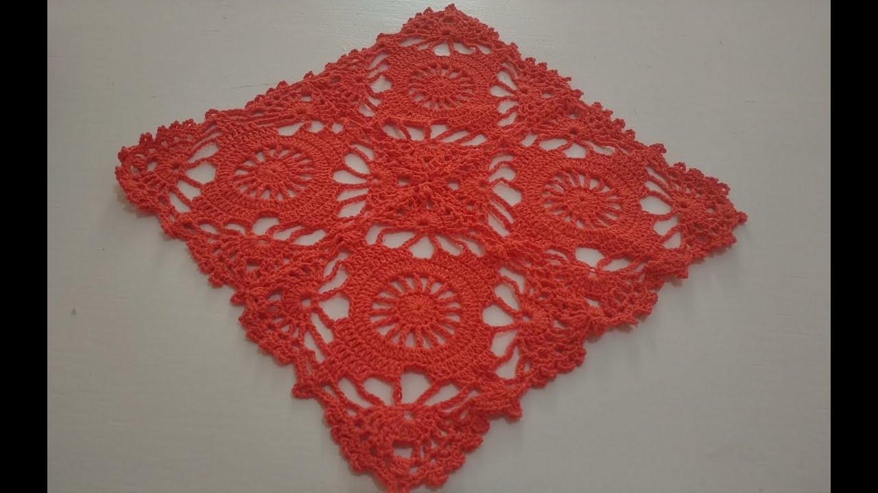 Toalhinha Quadrada em Crochê - Motivo para trilho, colcha, manta - Nó Chic Crochê - Kátia