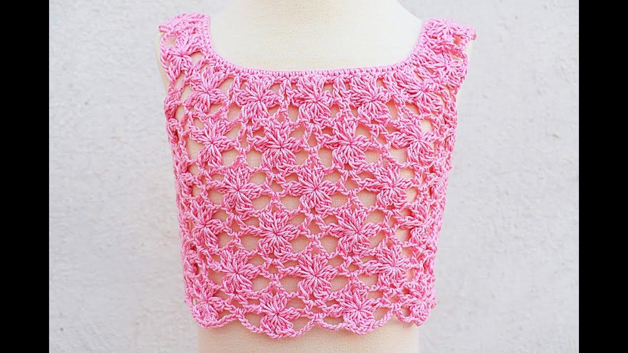 Top o blusa de flores de niña a crochet #crochet #ganchillo