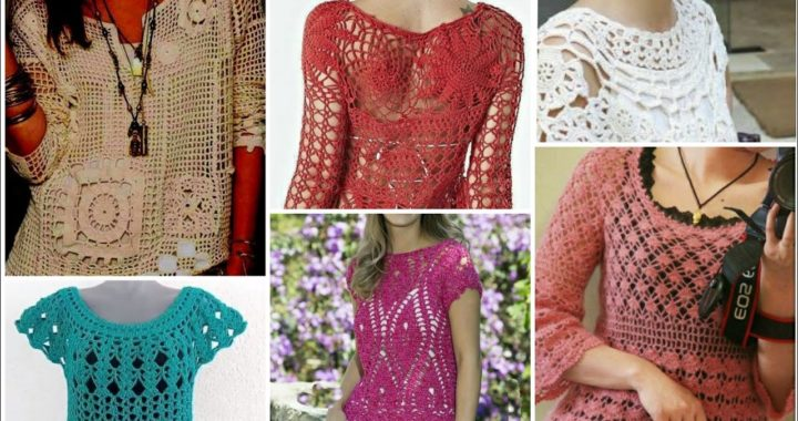 Trendy fashion fancy cotton yarn crochet knitted doily lace pattern women fashion top blouse dress