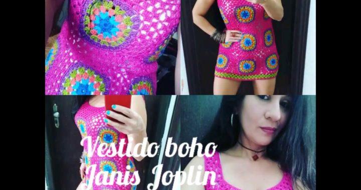 "Vestido de crochê boho ""Janis Joplin"" tutorial passo a passo."