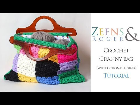 Z&R Crochet Tutorial. Granny Square Bag.