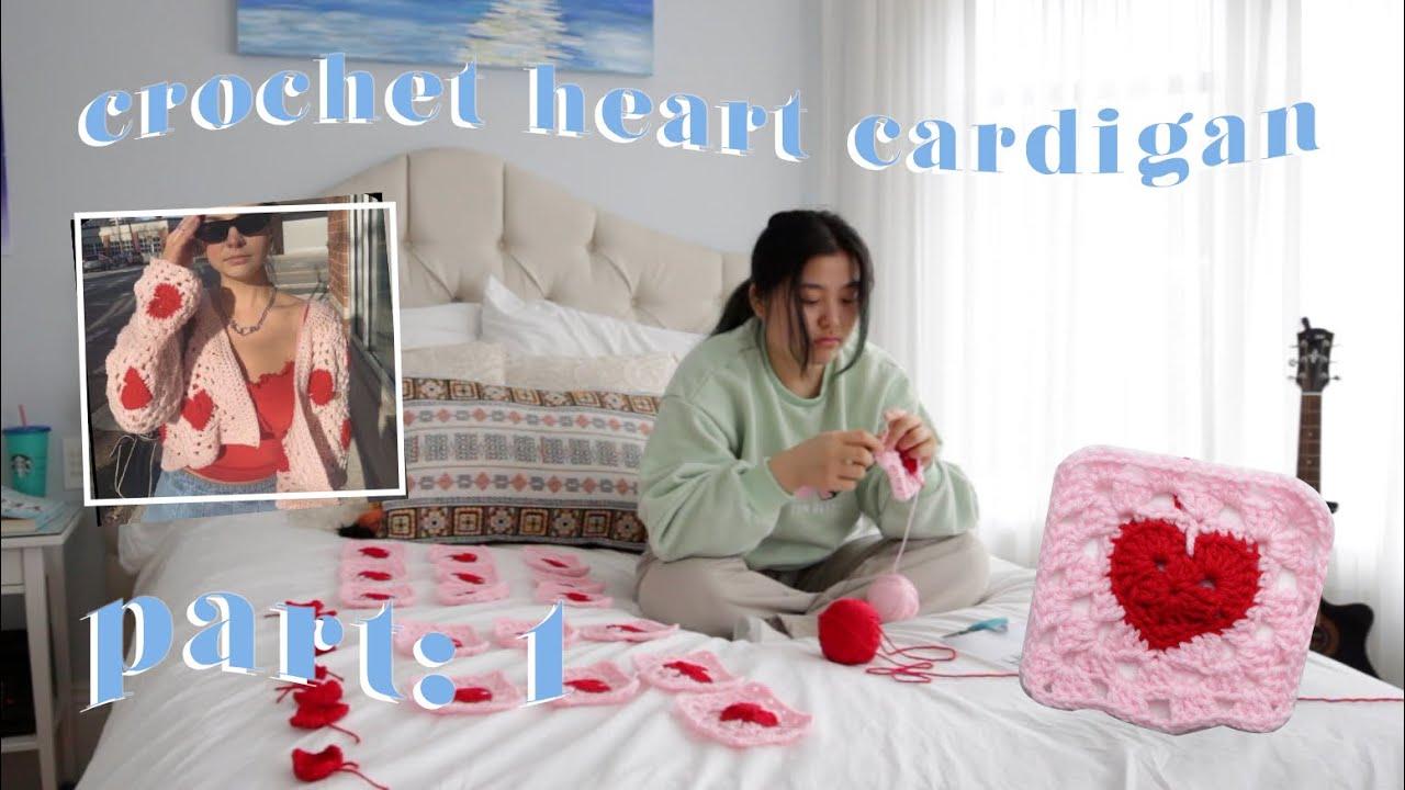 part 1: crochet heart cardigan ❤️ crochet heart granny square tutorial