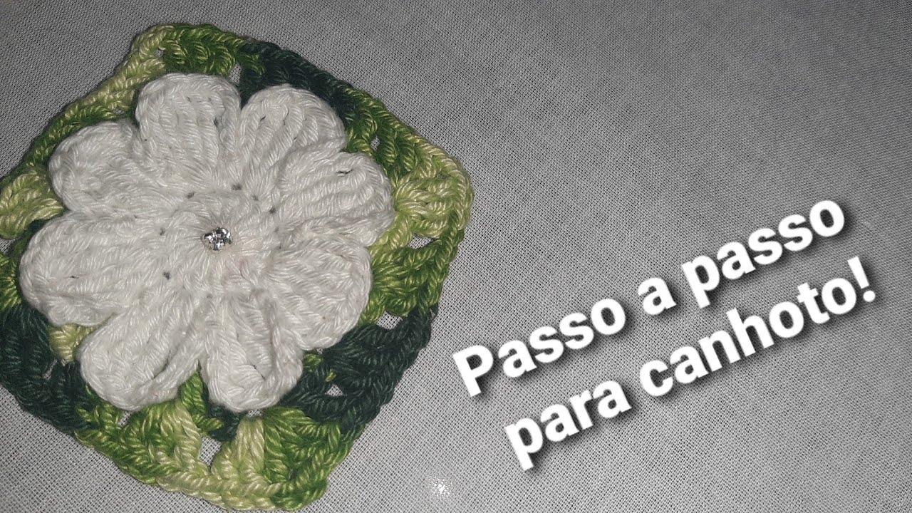 video aula flor Charmosinha com Square de crochê canhoto.