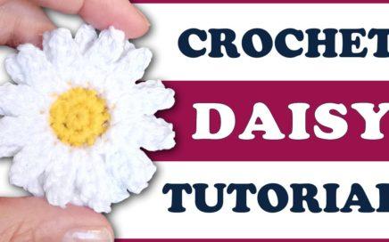 Easy crochet flower DAISY applique 🌼 tutorial with FREE pattern 🌼 flower motif 🌼 beginner friendly
