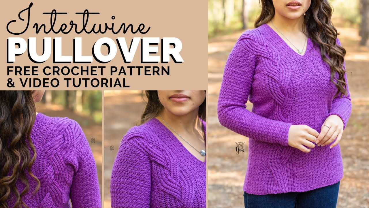 Intertwine Pullover - Free Crochet Sweater Pattern with Braided Faux Cable | Yay For Yarn