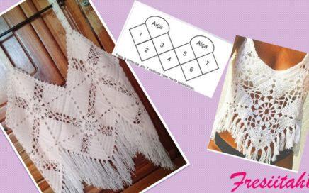 Blusa CropTop tejida a crochet paso a paso (Uniendo cuadrados tejidos)