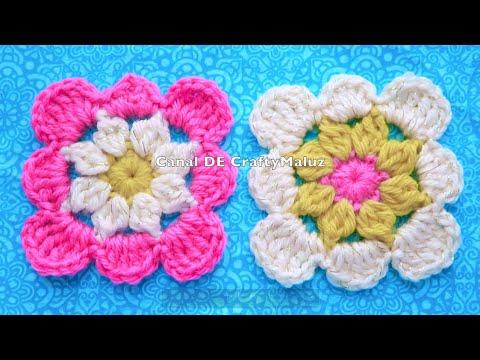 CROCHET TUTORIAL( Motivo de crochet mini cuadro tejido muy fácil ) granny square crochet