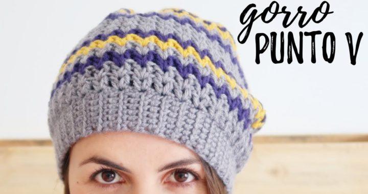 GORRO a crochet en PUNTO V (tipo BOINA CAIDA)   Tutorial paso a paso   Ahuyama Crochet
