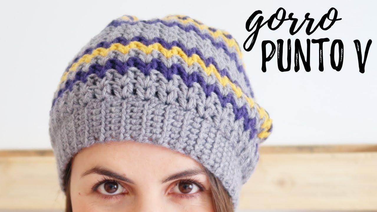 GORRO a crochet en PUNTO V (tipo BOINA CAIDA) | Tutorial paso a paso | Ahuyama Crochet
